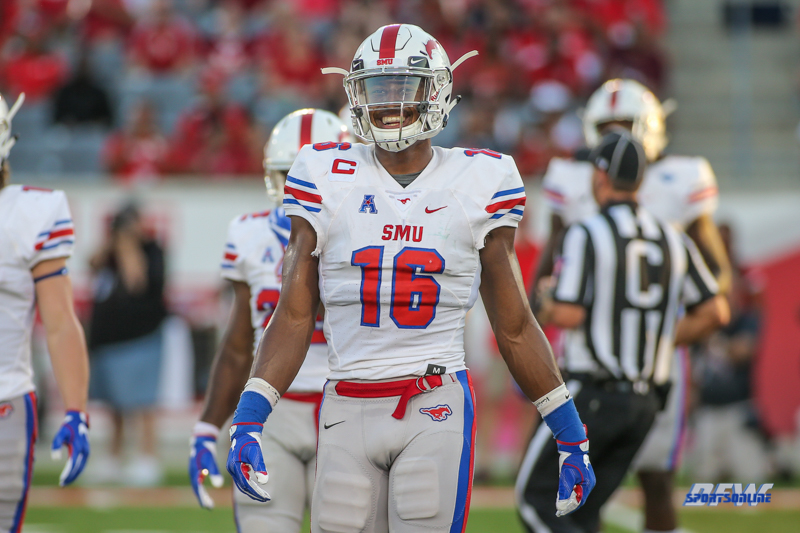 HOUSTON, CA - OCTOBER 07: Southern Methodist Mustangs wide receiver Courtland Sutton (16) enjoys a moment during the game between SMU and Houston on October 7, 2017, at TDECU Stadium in Houston, TX. (Photo by George Walker/Icon Sportswire)