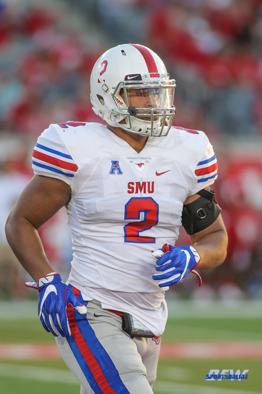 HOUSTON, CA - OCTOBER 07: Southern Methodist Mustangs linebacker Noah Spears (2) jogs off the field during the game between SMU and Houston on October 7, 2017, at TDECU Stadium in Houston, TX. (Photo by George Walker/Icon Sportswire)