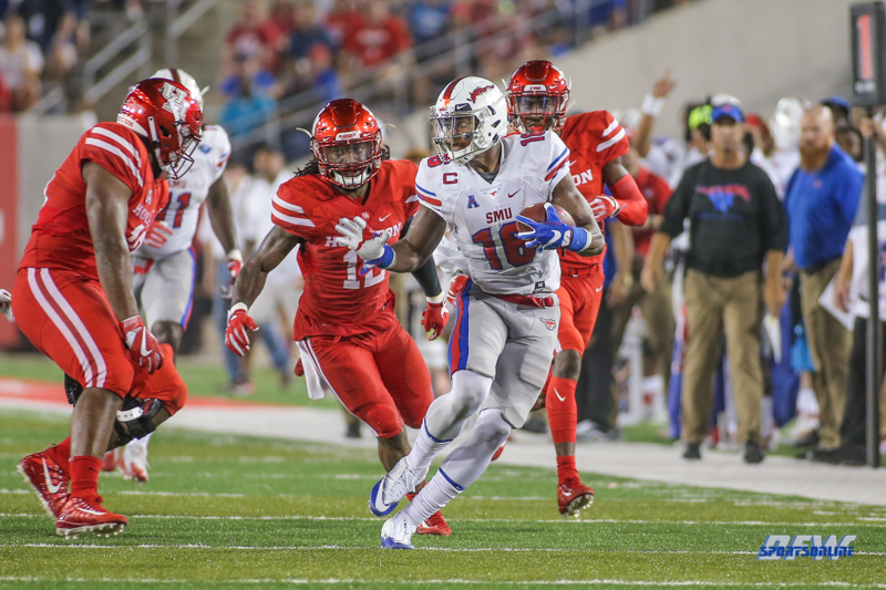 HOUSTON, CA - OCTOBER 07: Southern Methodist Mustangs wide receiver Courtland Sutton (16) makes a catch during the game between SMU and Houston on October 7, 2017, at TDECU Stadium in Houston, TX. (Photo by George Walker/Icon Sportswire)