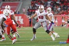 HOUSTON, CA - OCTOBER 07: Southern Methodist Mustangs offensive lineman Will Hopkins (60) during the game between SMU and Houston on October 7, 2017, at TDECU Stadium in Houston, TX. (Photo by George Walker/DFWsportsonline)