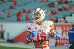 HOUSTON, CA - OCTOBER 07: Southern Methodist Mustangs wide receiver Courtland Sutton (16) warms up before the game between SMU and Houston on October 7, 2017, at TDECU Stadium in Houston, TX. (Photo by George Walker/DFWsportsonline)
