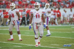 HOUSTON, CA - OCTOBER 07: Southern Methodist Mustangs linebacker Kyran Mitchell (11) during the game between SMU and Houston on October 7, 2017, at TDECU Stadium in Houston, TX. (Photo by George Walker/DFWsportsonline)