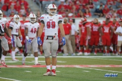 HOUSTON, CA - OCTOBER 07: Southern Methodist Mustangs defensive end Justin Lawler (99) during the game between SMU and Houston on October 7, 2017, at TDECU Stadium in Houston, TX. (Photo by George Walker/DFWsportsonline)