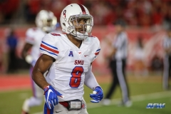 HOUSTON, CA - OCTOBER 07: Southern Methodist Mustangs defensive back Rodney Clemons (8) during the game between SMU and Houston on October 7, 2017, at TDECU Stadium in Houston, TX. (Photo by George Walker/DFWsportsonline)
