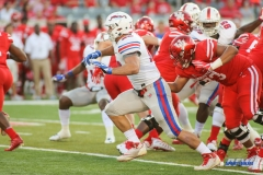 HOUSTON, CA - OCTOBER 07: Southern Methodist Mustangs defensive end Justin Lawler (99) breaks through the line during the game between SMU and Houston on October 7, 2017, at TDECU Stadium in Houston, TX. (Photo by George Walker/Icon Sportswire)