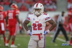 HOUSTON, CA - OCTOBER 07: Southern Methodist Mustangs wide receiver Myron Gailliard (22) looks to the sideline during the game between SMU and Houston on October 7, 2017, at TDECU Stadium in Houston, TX. (Photo by George Walker/Icon Sportswire)