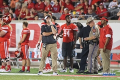 HOUSTON, CA - OCTOBER 07: Houston Cougars head coach Major Applewhite watches a replay on the scoreboard during the game between SMU and Houston on October 7, 2017, at TDECU Stadium in Houston, TX. (Photo by George Walker/Icon Sportswire)