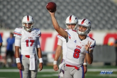 HOUSTON, CA - OCTOBER 07: Southern Methodist Mustangs quarterback Ben Hicks (8) warms up prior to the game between SMU and Houston on October 7, 2017, at TDECU Stadium in Houston, TX. (Photo by George Walker/Icon Sportswire)