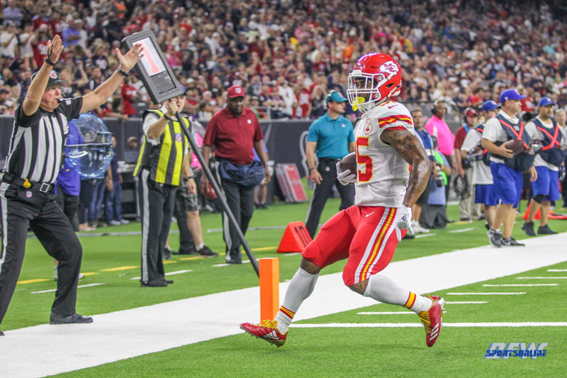 HOUSTON, TX - OCTOBER 08: Kansas City Chiefs running back Charcandrick West (35) scores a touchdown during the game between the Houston Texans and Kansas City Chiefs on October 8, 2017, at NRG Stadium in Houston, TX. (Photo by George Walker/DFWsportsonline)