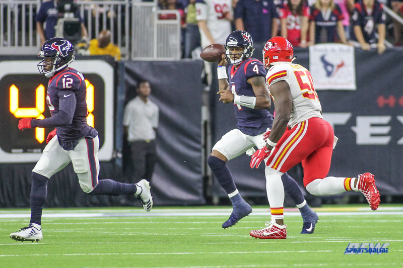 HOUSTON, TX - OCTOBER 08: Houston Texans quarterback Deshaun Watson (4) looks for a receiver during the game between the Houston Texans and Kansas City Chiefs on October 8, 2017, at NRG Stadium in Houston, TX. (Photo by George Walker/DFWsportsonline)