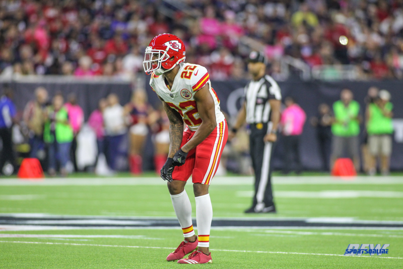 HOUSTON, TX - OCTOBER 08: Kansas City Chiefs cornerback Marcus Peters (22) during the game between the Houston Texans and Kansas City Chiefs on October 8, 2017, at NRG Stadium in Houston, TX. (Photo by George Walker/DFWsportsonline)