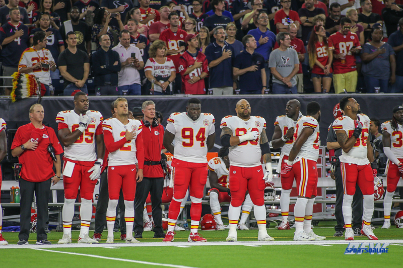 HOUSTON, TX - OCTOBER 08: Chiefs players standing and sitting for National Anthem during the game between the Houston Texans and Kansas City Chiefs on October 8, 2017, at NRG Stadium in Houston, TX. (Photo by George Walker/DFWsportsonline)