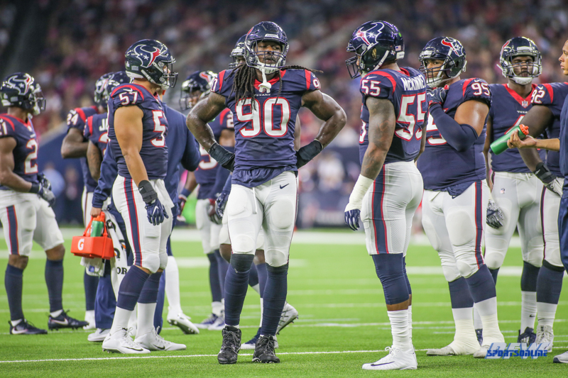 HOUSTON, TX - OCTOBER 08: Houston Texans defense during the game between the Houston Texans and Kansas City Chiefs on October 8, 2017, at NRG Stadium in Houston, TX. (Photo by George Walker/DFWsportsonline)