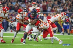 HOUSTON, TX - OCTOBER 08: Houston Texans running back D'Onta Foreman (27) during the game between the Houston Texans and Kansas City Chiefs on October 8, 2017, at NRG Stadium in Houston, TX. (Photo by George Walker/DFWsportsonline)