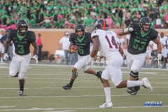 DENTON, TX - OCTOBER 14: North Texas Mean Green quarterback Mason Fine (6) runs during the game between the North Texas Mean Green and UTSA Roadrunners on October 14, 2017, at Apogee Stadium in Denton, Texas. (Photo by George Walker/DFWsportsonline)