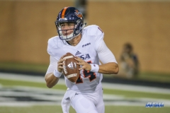 DENTON, TX - OCTOBER 14: UTSA Roadrunners quarterback Dalton Sturm (14) looks to pass during the game between the North Texas Mean Green and UTSA Roadrunners on October 14, 2017, at Apogee Stadium in Denton, Texas. (Photo by George Walker/DFWsportsonline)