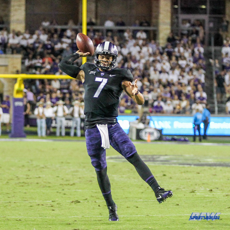 DALLAS, TX - October 21: TCU Horned Frogs quarterback Kenny Hill (7) throws during the game between the Kansas Jayhawks and TCU Horned Frogs on October 21, 2017, at Amon G. Carter Stadium in Fort Worth, Texas. (Photo by George Walker/DFWsportsonline)