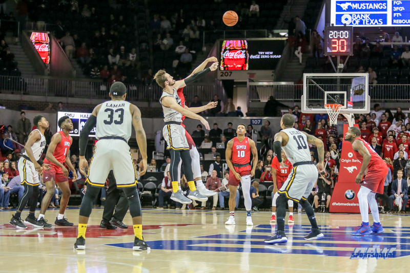 DALLAS, TX - NOVEMBER 10: Tip-off during the men's basketball game between SMU and UMBC on November 10, 2017, at Moody Coliseum, in Dallas, TX. (Photo by George Walker/DFWsportsonline)