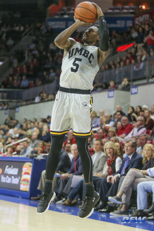 UNIVERSITY PARK, TX - NOVEMBER 10: UMBC Retrievers guard Jourdan Grant (5) makes a jump shot during the men's basketball game between SMU and UMBC on November 10, 2017, at Moody Coliseum in Dallas, TX.(Photo by George Walker/Icon Sportswire)