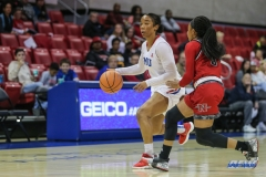 DALLAS, TX - NOVEMBER 10: Southern Methodist Mustangs guard Mikayla Reese (4) during the women's basketball game between SMU and Nicholls on November 10, 2017, at Moody Coliseum, in Dallas, TX. (Photo by George Walker/DFWsportsonline)