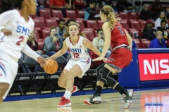 DALLAS, TX - NOVEMBER 10: Southern Methodist Mustangs guard Morgan Smith (12) during the women's basketball game between SMU and Nicholls on November 10, 2017, at Moody Coliseum, in Dallas, TX. (Photo by George Walker/DFWsportsonline)