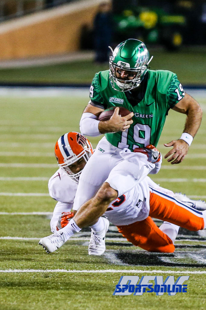 Denton, TX - November 11: North Texas Mean Green quarterback Quinn Shanbour (19) during the game between the North Texas Mean Green and UTEP Miners (Photo by Mark Woods/DFWsportsonline)