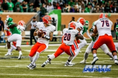 Denton, TX - November 11: UTEP Miners quarterback Zack Greenlee (8), running back Joshua Fields, and offensive lineman Will Hernandez (76) during the game between the North Texas Mean Green and UTEP Miners (Photo by Mark Woods/DFWsportsonline)
