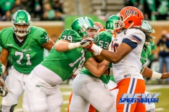 Denton, TX - November 11: North Texas Mean Green offensive lineman Riley Mayfield (79) during the game between the North Texas Mean Green and UTEP Miners (Photo by Mark Woods/DFWsportsonline)