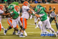 Denton, TX - November 11: North Texas Mean Green defensive tackle Roderick Young (49) and defensive end Andy Flusche (99) during the game between the North Texas Mean Green and UTEP Miners (Photo by Mark Woods/DFWsportsonline)