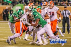 Denton, TX - November 11: North Texas Mean Green linebackers LaDarius Hamilton (50) and E.J. Ejiya (22) during the game between the North Texas Mean Green and UTEP Miners (Photo by Mark Woods/DFWsportsonline)