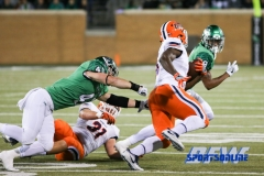 Denton, TX - November 11: North Texas Mean Green linebacker Colton McDonald (41) and defensive back Nate Brooks (9) during the game between the North Texas Mean Green and UTEP Miners (Photo by Mark Woods/DFWsportsonline)