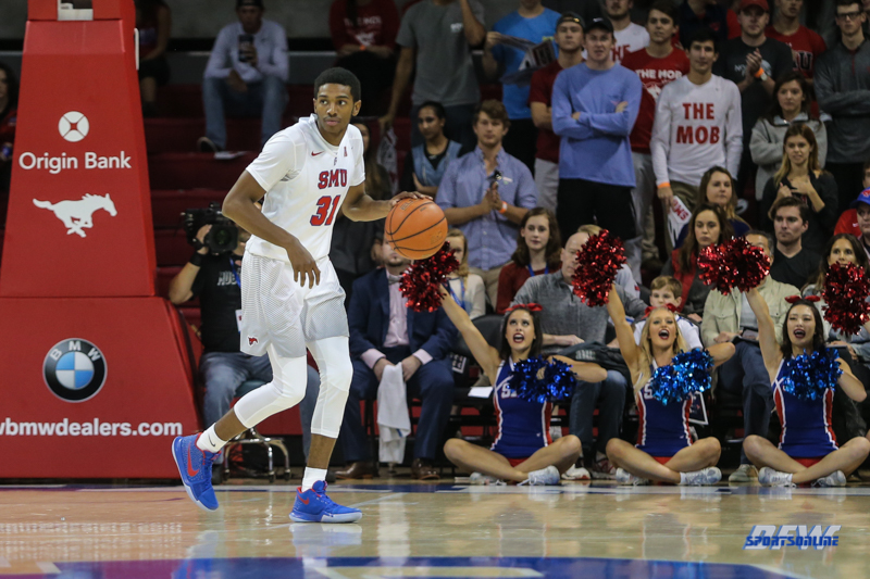 DALLAS, TX - NOVEMBER 12: Southern Methodist Mustangs guard Jimmy Whitt (31) dribbles during the men's basketball game between SMU and ULM on November 12, 2017, at Moody Coliseum, in Dallas, TX. (Photo by George Walker/DFWsportsonline)