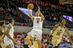 DALLAS, TX - NOVEMBER 12: Southern Methodist Mustangs forward Ethan Chargois (5) goes to the basket during the men's basketball game between SMU and ULM on November 12, 2017, at Moody Coliseum, in Dallas, TX. (Photo by George Walker/DFWsportsonline)