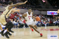 DALLAS, TX - NOVEMBER 12: Southern Methodist Mustangs guard Shake Milton (1) drives to the basket during the men's basketball game between SMU and ULM on November 12, 2017, at Moody Coliseum, in Dallas, TX. (Photo by George Walker/DFWsportsonline)