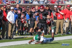 DALLAS, TX - NOVEMBER 25: Southern Methodist Mustangs wide receiver Trey Quinn (18) runs up the sideline for a touchdown during the game between SMU and Tulane on November 25, 2017, at Gerald J. Ford Stadium in Dallas, TX. (Photo by George Walker/DFWsportsonline)