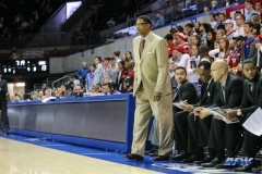 UNIVERSITY PARK, TX - NOVEMBER 28: UT Rio Grande Valley Vaqueros head coach Lew Hill looks on during the game between SMU and UT Rio Grande Valley on November 28, 2017 at Moody Coliseum in Dallas, TX. (Photo by George Walker/Icon Sportswire)
