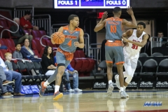 UNIVERSITY PARK, TX - NOVEMBER 28: UT Rio Grande Valley Vaqueros guard Nick Dixon (4) dribbles during the game between SMU and UT Rio Grande Valley on November 28, 2017 at Moody Coliseum in Dallas, TX. (Photo by George Walker/Icon Sportswire)