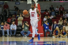 UNIVERSITY PARK, TX - NOVEMBER 28: Southern Methodist Mustangs guard Ben Emelogu II (21) brings the ball up court during the game between SMU and UT Rio Grande Valley on November 28, 2017 at Moody Coliseum in Dallas, TX. (Photo by George Walker/Icon Sportswire)