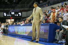 UNIVERSITY PARK, TX - NOVEMBER 28: UT Rio Grande Valley Vaqueros head coach Lew Hill gives direction during the game between SMU and UT Rio Grande Valley on November 28, 2017 at Moody Coliseum in Dallas, TX. (Photo by George Walker/Icon Sportswire)