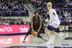 FORT WORTH, TX - DECEMBER 05: Southern Methodist Mustangs guard Jimmy Whitt (31) is guarded by TCU Horned Frogs guard Jaylen Fisher (0) during the game between SMU and TCU on December 5, 2017 at the Ed and Rae Schollmaier Arena in Fort Worth, TX. (Photo by George Walker/DFWsportsonline