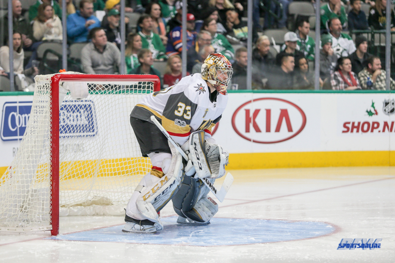 DALLAS, TX - DECEMBER 09: Vegas Golden Knights Goalie Maxime Lagace (33) stands ready during the game between the Dallas Stars and Vegas Golden Knights on December 9, 2017 at the American Airlines Center in Dallas, TX. (Photo by George Walker/Icon Sportswire)