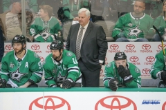 DALLAS, TX - DECEMBER 09: Dallas Stars head coach Ken Hitchcock looks on during the game between the Dallas Stars and Vegas Golden Knights on December 9, 2017 at the American Airlines Center in Dallas, TX. (Photo by George Walker/Icon Sportswire)
