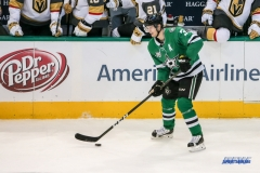 DALLAS, TX - DECEMBER 09: Dallas Stars Defenceman John Klingberg (3) passes during the game between the Dallas Stars and Vegas Golden Knights on December 9, 2017 at the American Airlines Center in Dallas, TX. (Photo by George Walker/Icon Sportswire)