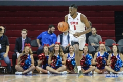 DALLAS, TX - DECEMBER 13: Southern Methodist Mustangs guard Shake Milton (1) brings the ball up court during the men's basketball game between SMU and New Orleans on December 13, 2017, at Moody Coliseum, in Dallas, TX. (Photo by George Walker/DFWsportsonline)