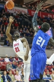 DALLAS, TX - DECEMBER 13: Southern Methodist Mustangs guard Ben Emelogu II (21) goes to the basket during the men's basketball game between SMU and New Orleans on December 13, 2017, at Moody Coliseum, in Dallas, TX. (Photo by George Walker/DFWsportsonline)