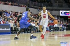DALLAS, TX - DECEMBER 13: Southern Methodist Mustangs guard Jarrey Foster (10) dribbles during the men's basketball game between SMU and New Orleans on December 13, 2017, at Moody Coliseum, in Dallas, TX. (Photo by George Walker/DFWsportsonline)