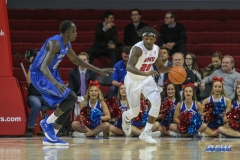 DALLAS, TX - DECEMBER 13: Southern Methodist Mustangs guard Elijah Landrum (20) brings the ball up court during the men's basketball game between SMU and New Orleans on December 13, 2017, at Moody Coliseum, in Dallas, TX. (Photo by George Walker/DFWsportsonline)