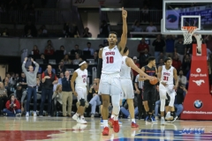 UNIVERSITY PARK, TX - DECEMBER 18: Southern Methodist Mustangs guard Jarrey Foster (10) reacts during the game between SMU and Boise State on December 18, 2017, at Moody Coliseum in Dallas, TX. (Photo by George Walker/DFWsportsonline)