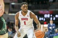 UNIVERSITY PARK, TX - DECEMBER 19: Southern Methodist Mustangs guard Shake Milton (1) dribbles during the game between SMU and Cal Poly State on December 19, 2017, at Moody Coliseum in Dallas, TX. (Photo by George Walker/DFWsportsonline)