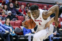 UNIVERSITY PARK, TX - DECEMBER 19: Southern Methodist Mustangs guard Shake Milton (1) drives to the basket during the game between SMU and Cal Poly State on December 19, 2017, at Moody Coliseum in Dallas, TX. (Photo by George Walker/DFWsportsonline)